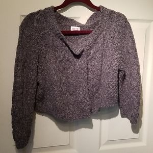 Mossimo chunky grey cableknit cropped cardigan xxl